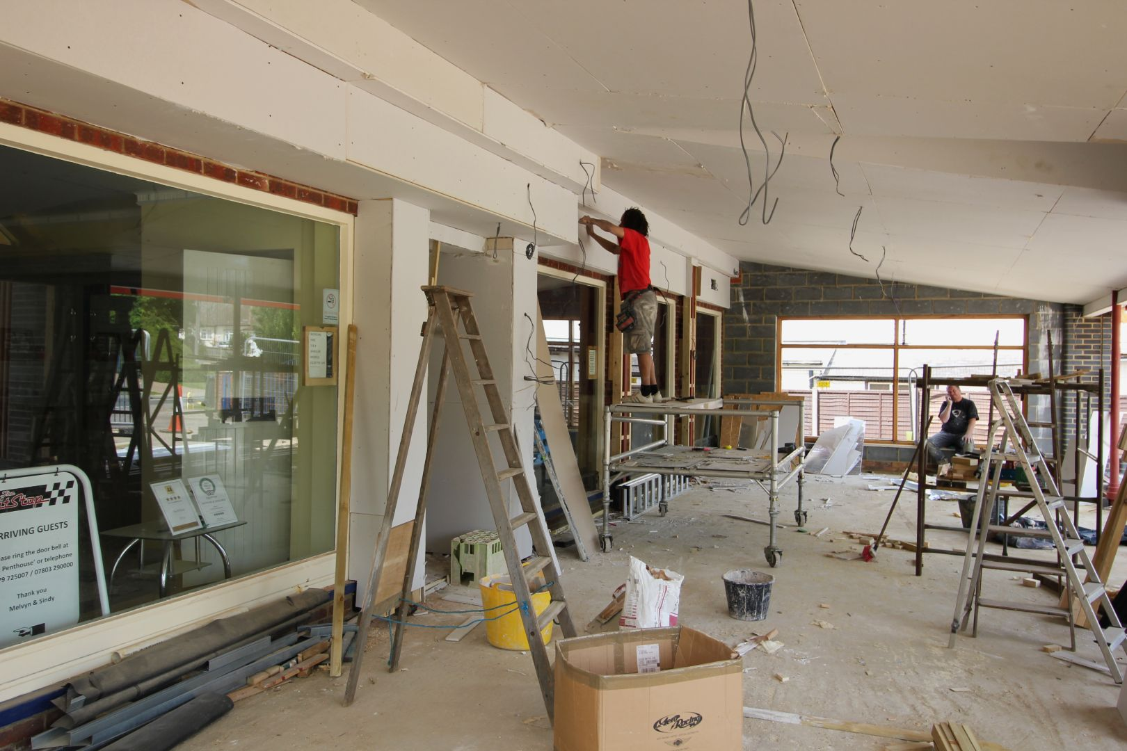 Morgan car Art Deco Showroom Expansion 2016 wiring and finishing touches
