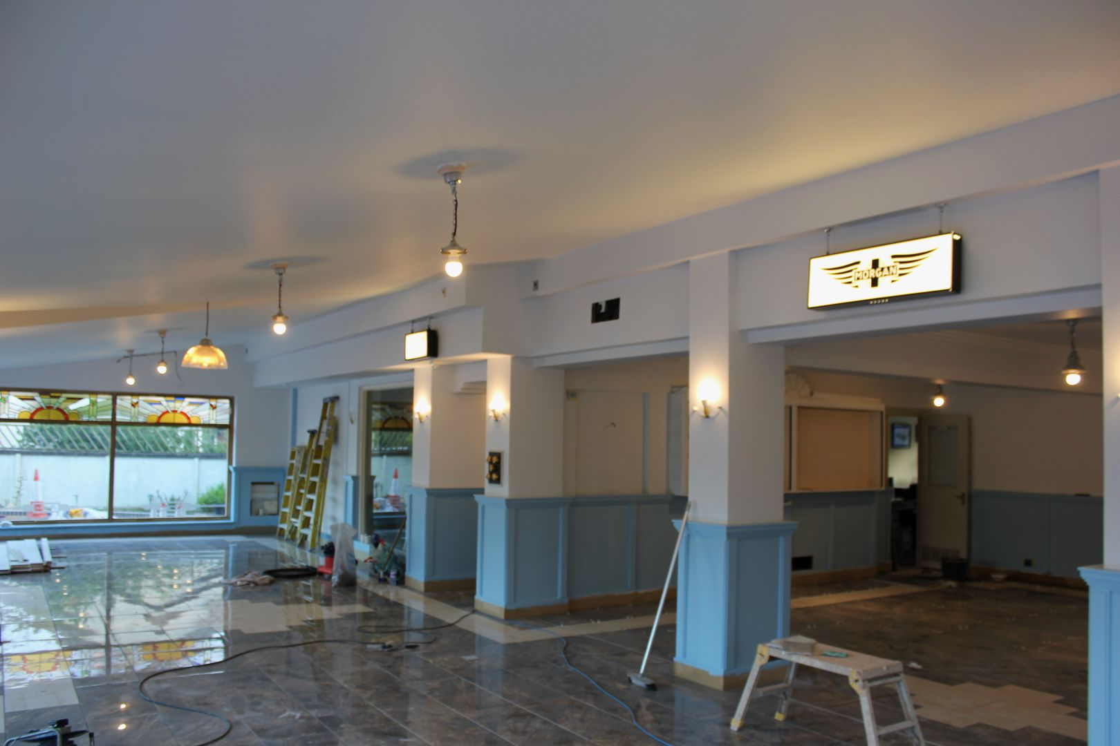 Lights are on! Morgan car Art Deco Showroom Expansion 2016
